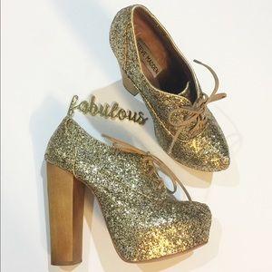 d552eceaf7f Steve Madden gold glitter Cirkus wood heel booties